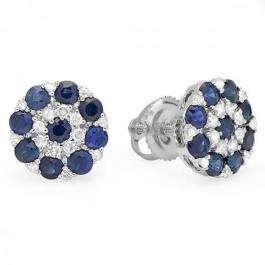 1.45 Carat (ctw) 10K White Gold Round White Diamond & Blue Sapphire Ladies Flower Shaped Cluster Earrings 1 1/2 CT