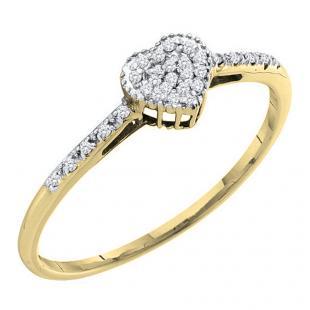 0.20 Carat (ctw) 14K Yellow Gold Round Cut White Diamond Ladies Heart Shaped Fashion Bridal Promise Ring 1/5 CT