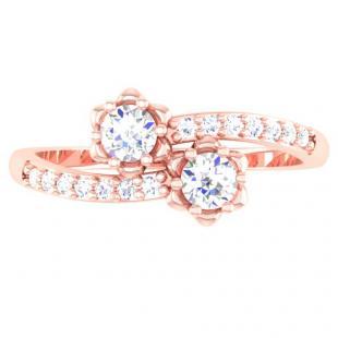 0.40 Carat (ctw) 10K Rose Gold Round White Diamond Ladies Two Stone Bypass Style Bridal Engagement Ring