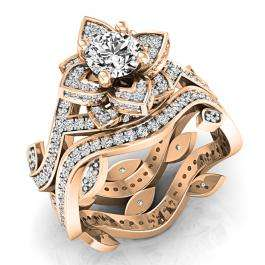 2.25 Carat (ctw) 14K Rose Gold Round White Cubic Zirconia Ladies Bridal Fashion Vintage Style Engagement Ring With Matching Band Set