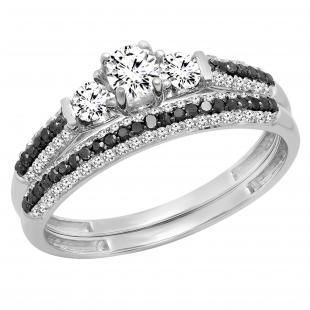 0.90 Carat (ctw) 10K White Gold Round White Sapphire Black & White Diamond Ladies 3 Stone Bridal Engagement Ring Set