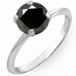 3.00 Carat (Ctw) Sterling Silver Round Black Diamond Ladies Bridal Engagement Solitaire Ring