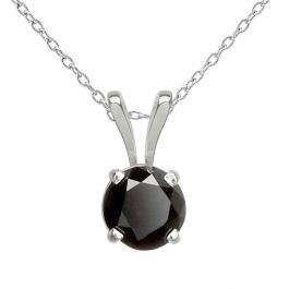 1.00 Carat (ctw) 14K White Gold Round Cut Black Diamond Ladies Solitaire Pendant (Silver Chain Included) 1 CT