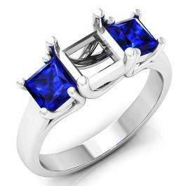 1.40 Carat (ctw) 14K White Gold Princess Cut Blue Sapphire Ladies Semi Mount Bridal Engagement Ring (No Center Stone)