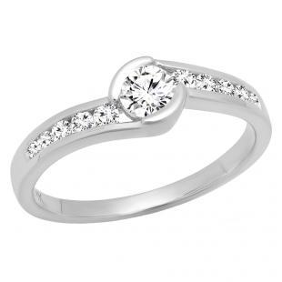 0.45 Carat (ctw) 10K White Gold Round White Diamond Ladies Twisted Bridal Engagement Promise Ring 1/2 CT