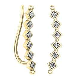 0.15 Carat (ctw) 14K Yellow Gold Round Cut White Diamond Ladies Sweep Up Square Ear Climber Earrings