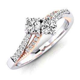 0.50 Carat (ctw) 18K White & Rose Gold Round White Diamond Ladies Forever Together Two Stone Bridal Engagement Ring 1/2 CT