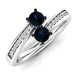 0.65 Carat (Ctw) 18K White Gold Round Blue Sapphire & White Diamond Ladies Forever Together Two Stone Bypass Style Bridal Engagement Ring