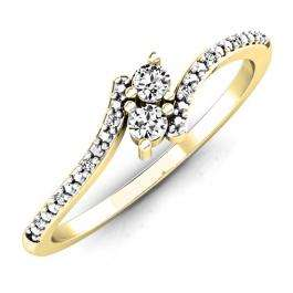 0.30 Carat (ctw) 14K Yellow Gold Round White Diamond Ladies Forever Together Two Stone Bypass Style Swirl Bridal Engagement Ring 1/3 CT