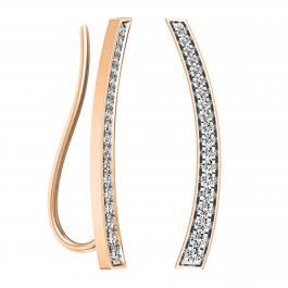 0.30 Carat (ctw) 18K Rose Gold Round Cut White Diamond Ladies Curved Bar Ear Climber Earrings