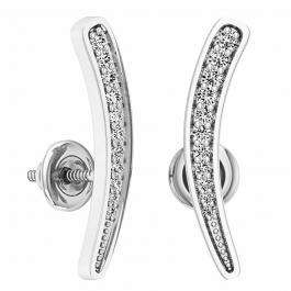 0.10 Carat (ctw) 14K White Gold Round Cut White Diamond Ladies Curved Bar Ear Climber Earrings