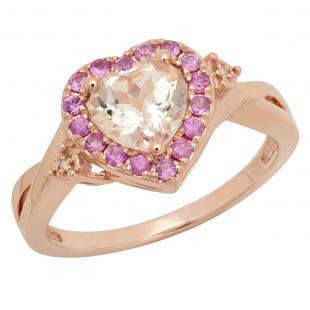 1.40 Carat (ctw) 18K Rose Gold Heart Cut Morganite & Round Cut Pink Sapphire & White Diamond Ladies Heart Shaped Bridal Promise Engagement Ring