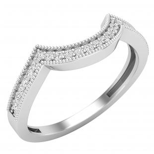 0.15 Carat (ctw) Round White Diamond Ladies Contour Guard Wedding Band, 925 Sterling Silver