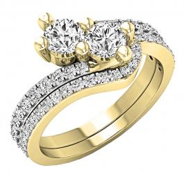 1.20 Carat (ctw) 10K Yellow Gold Round White Diamond Ladies Two Stone Bypass Style Bridal Engagement Ring Set