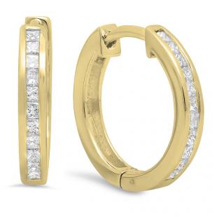 0.24 Carat (ctw) 18K Yellow Gold Princess Cut White Diamond Huggie Hoop Earrings 1/4 CT