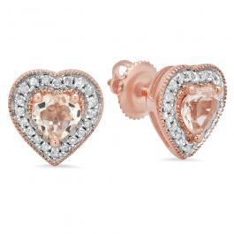 1.05 Carat (ctw) Rose Gold Plated Sterling Silver Heart Cut Morganite & Round Cut White Diamond Ladies Halo Stud Earrings 1 CT