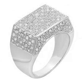 0.45 Carat (ctw) Platinum Plated Sterling Silver Fancy Design Round Diamond Men's Flashy Hip Hop Iced Pinky Ring 1/2 CT