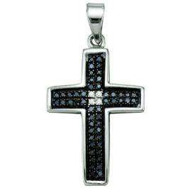 0.17 Carat (ctw) Sterling Silver Round Cut Black & White Diamond Ladies Cross Charm Pendant