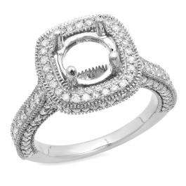 0.90 Carat (ctw) 10K White Gold Round Cut White Diamond Ladies Bridal Semi Mount Engagement Ring