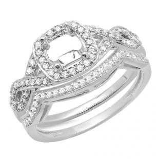 0.40 Carat (ctw) 10K White Gold Round White Diamond Ladies Swirl Semi-Mount Engagement Ring With Matching Band Set (No Center Stone)