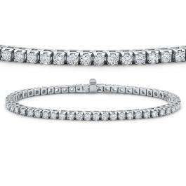 IGI CERTIFIED 5 Carat (ctw) 14K White Gold Round Cut White Diamond Ladies Tennis Bracelet 5 CT