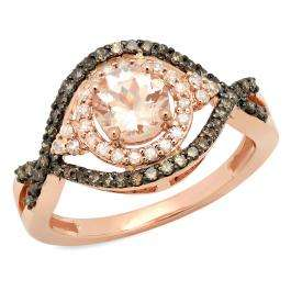 1.25 Carat (ctw) 14K Rose Gold Round Cut Morganite, Champagne & White Diamond Ladies Bridal Swirl Split Shank Halo Style Engagement Ring 1 1/4 CT