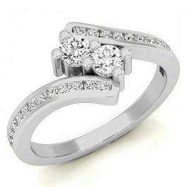 0.50 Carat (ctw) 14K White Gold Round White Diamond Ladies Forever Together Two Stone Bypass Style Bridal Engagement Ring 1/2 CT