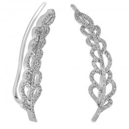 0.35 Carat (ctw) 14K White Gold Round Cut White Diamond Ladies Leaves Ear Cuff Crawler Climber Earrings 1/3 CT