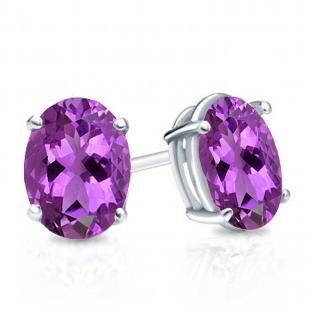 1.00 Carat (Ctw) Sterling Silver Oval Cut Amethyst Ladies Solitaire Stud Earrings 1 CT