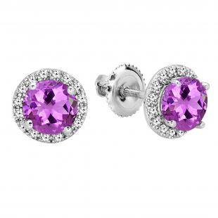 2.00 Carat (ctw) 18K White Gold Round Amethyst & White Diamond Ladies Halo Style Stud Earrings 2 CT