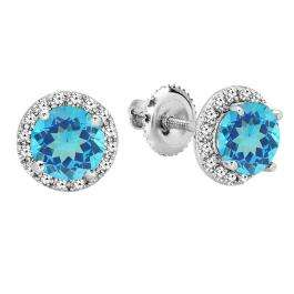 2.00 Carat (ctw) 18K White Gold Round Blue Topaz & White Diamond Ladies Halo Style Stud Earrings 2 CT