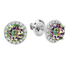2.00 Carat (ctw) 18K White Gold Round Rainbow Topaz & White Diamond Ladies Halo Style Stud Earrings 2 CT