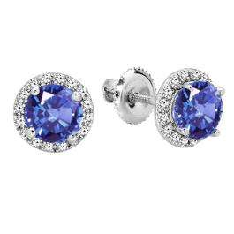 2.00 Carat (ctw) 18K White Gold Round Tanzanite & White Diamond Ladies Halo Style Stud Earrings 2 CT