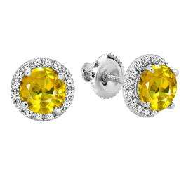 2.00 Carat (ctw) 18K White Gold Round Yellow Sapphire & White Diamond Ladies Halo Style Stud Earrings 2 CT