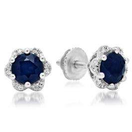 1.95 Carat (ctw) 18K White Gold Round Cut Blue Sapphire & White Diamond Ladies Flower Shape Cluster Fashion Stud Earrings 2 CT