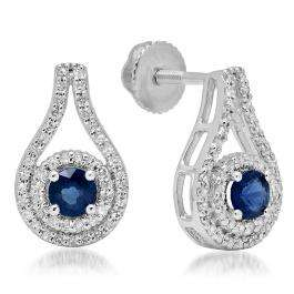 1.10 Carat (ctw) 18K White Gold Round Cut Blue Sapphire & White Diamond Ladies Halo Style Drop Earrings 1 CT