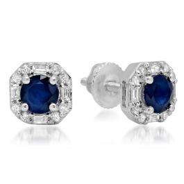 1.40 Carat (ctw) 18K White Gold Round Cut Blue Sapphire & Baguette & Round Cut White Diamond Ladies Halo Style Stud Earrings