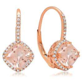 2.20 Carat (ctw) 14K Rose Gold Cushion Cut Morganite & Round Cut White Diamond Ladies Halo Style Hoop Earrings
