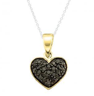 0.20 Carat (ctw) 18K Yellow Gold Round Cut Black Diamond Ladies Heart Pendant 1/5 CT
