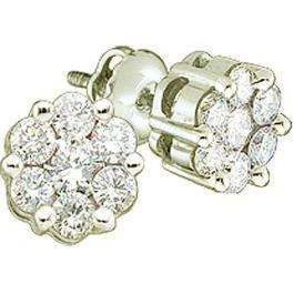 1.05 Carat (ctw) 14K White Gold Round Cut White Diamond Ladies Cluster Style Flower Stud Earrings 1 CT