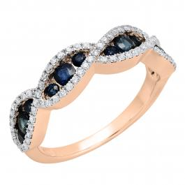 1.00 Carat (ctw) 14K Rose Gold Round Blue Sapphire & White Diamond Ladies Bridal Stackable Anniversary Wedding Band Swirl Ring 1 CT