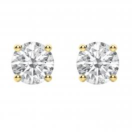2.00 Carat (ctw) Round Moissanite Ladies Solitaire Fashion Stud Earrings, 10K Yellow Gold