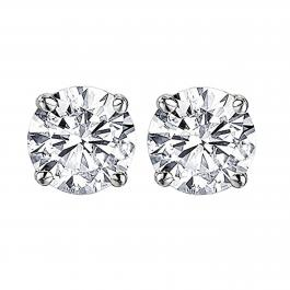 3.00 Carat (ctw) Round Moissanite Ladies Solitaire Fashion Stud Earrings, 14K White Gold