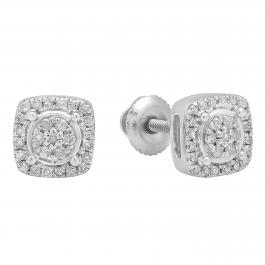 0.20 Carat (ctw) Sterling Silver Round White Diamond Ladies Cluster Style Flower Stud Earrings 1/5 CT