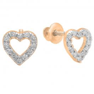 0.25 Carat (ctw) 18K Rose Gold Round Cut White Diamond Ladies Heart Shape Fashion Stud Earrings 1/4 CT