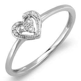 0.06 Carat (ctw) Sterling Silver Round Cut Real Diamond Heart Shaped Promise Ring