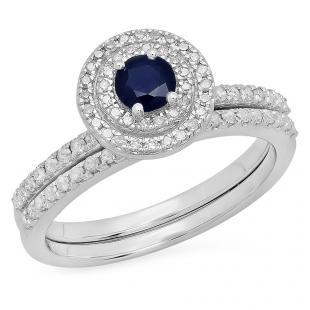 0.80 Carat (ctw) 14K White Gold Round Blue Sapphire And White Diamond Ladies Halo Style Bridal Engagement Ring Matching Band Set 3/4 CT