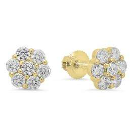 1.15 Carat (ctw) 10K Yellow Gold Round Cut Cubic Zirconia CZ Ladies Cluster Style Flower Stud Earrings