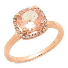1.65 Carat (ctw) 18K Rose Gold Round Cut Morganite & White Diamond Ladies Halo Style Bridal Engagement Ring