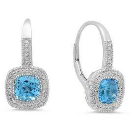 3.00 Carat (ctw) 14K White Gold Cushion Cut Blue Topaz & Round Diamond Ladies Halo Style Dangling Drop Earrings 3 CT